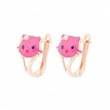 Золотые серьги Hello Kitty с кошачьей мордашкой и розовой эмалью