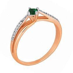 Позолоченное серебряное кольцо с зеленым фианитом 000028215