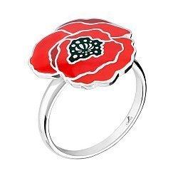 Серебряное кольцо Полевой мак с красно-черной эмалью 000068754