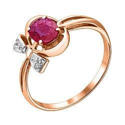 Золотое кольцо с бриллиантами и рубином 000021358
