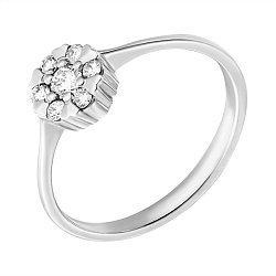 Золотое кольцо в белом цвете c бриллиантами 000070551
