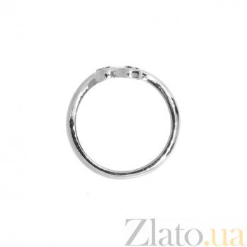 Золотое кольцо Завитки в белом цвете с двумя цаворитами (зелеными гранатами) ZMX--RTsav-00273w_K