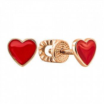 Серьги-пуссеты из красного золота с эмалью 000138399