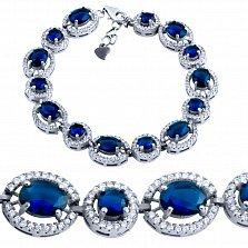 Серебряный браслет Мальвина с синими и белыми фианитами