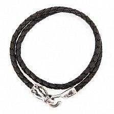 Кожаный браслет с серебряной застежкой Kraken