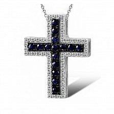Крестик из белого золота Вера с бриллиантами и сапфирами