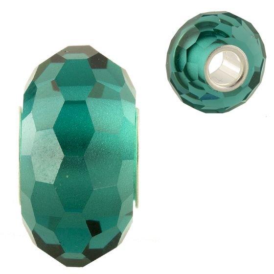Серебряный шарм Изабель с зеленым муранским стеклом