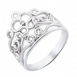 Серебряное кольцо-корона с фианитами 000119290