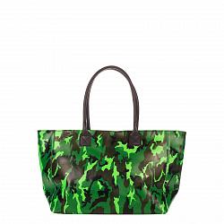 Кожаная сумка на каждый день Genuine Leather 8023 зелено-черного цвета с принтом хаки, на молнии