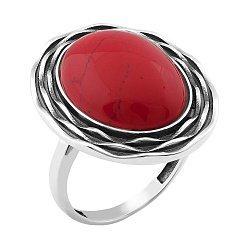 Серебряное черненое кольцо с жабо и имитацией яшмы 000119221
