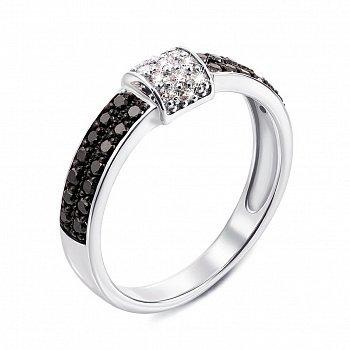 Кольцо из белого золота с черными и белыми бриллиантами 000134494