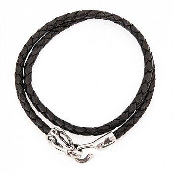 Кожаный браслет с серебряной застежкой Kraken 000050001