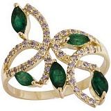 Золотое кольцо Изабелла с изумрудами и бриллиантами