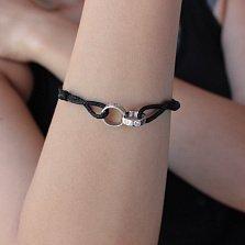 Текстильный браслет Связь с серебряными вставками в стиле Картье