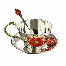 Чайный серебряный набор с эмалью Красные маки