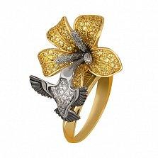 Кольцо из желтого золота Колибри с фианитами