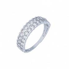 Кольцо серебряное с дорожкой и цирконов