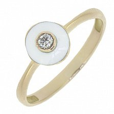 Золотое кольцо Бласт с бриллиантом и белой эмалью