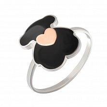 Серебряное кольцо Любимый мишка с золотой накладкой в форме сердечка  и черной эмалью
