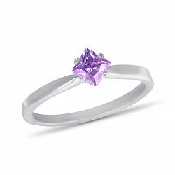Золотое кольцо Ясмин в белом цвете с ромбиком в четырех крапанах и аметистом