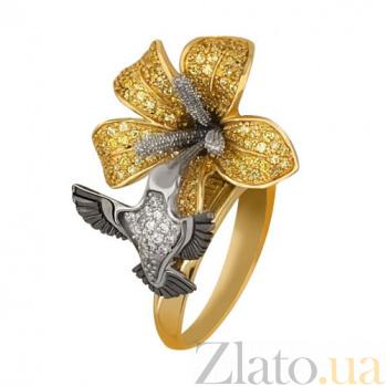 Кольцо из желтого золота Колибри с фианитами VLT--ТТ1101-1