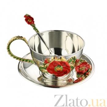 Чайный серебряный набор с эмалью Красные маки 3.8.0229п_2.6.0052