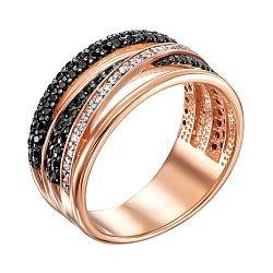 Кольцо из красного золота с черными и белыми фианитами 000104576