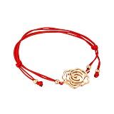 Шелковый браслет Дикая роза с золотой вставкой