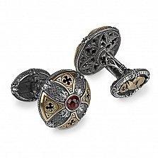 Серебряные запонки GOTHIC CLASSIC PREMIUM с чешским гранатом и позолотой