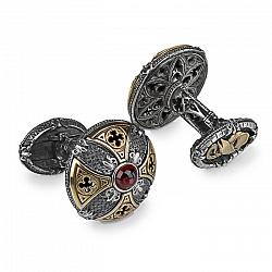 Серебряные запонки GOTHIC CLASSIC PREMIUM с чешским гранатом и позолотой 000061690