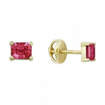 Золотые серьги-пуссеты в желтом цвете с розовыми сапфирами 000119026