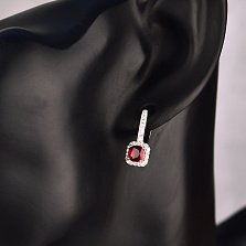 Серебряные серьги Мюриэлла с рубином и фианитами