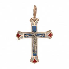 Крестик в красном золоте Независимость с эмалью