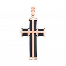 Золотой крестик Щит в красном цвете с черным каучуком
