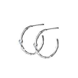 Серебряные серьги-кольца Звездное небо с фианитами, 20 мм