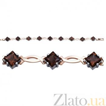Золотой браслет с раухтопазами Амели AUR--35009 04