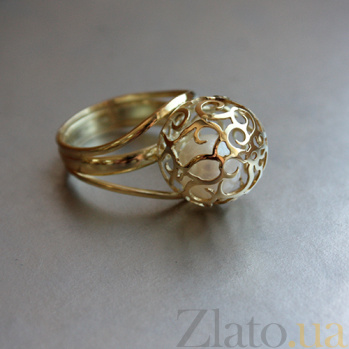 Золотое кольцо Аэлина с белым жемчугом 000052113