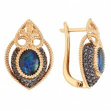 Золотые серьги Эдит с опалами-триплетами и синими нанокристаллами