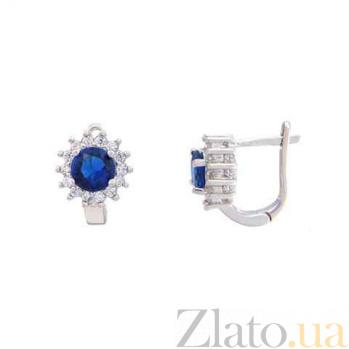 Серьги из серебра с синим цирконом Снежинка AQA--CTE0643-S