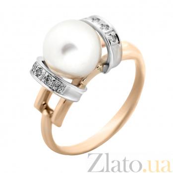 Золотое кольцо Услада с в комбинированном цвете с жемчужиной и бриллиантами VLA--12110