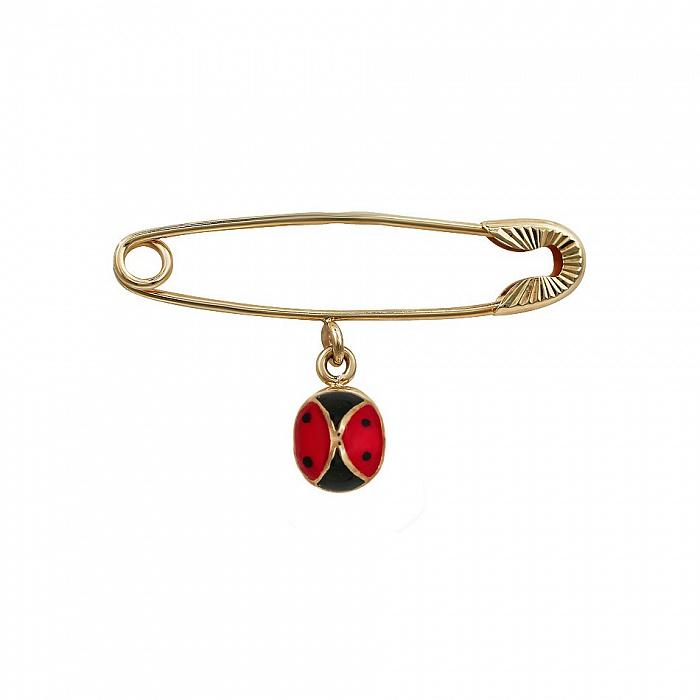 Булавка из красного золота Божья Коровка с красной и черной эмалью 000081311