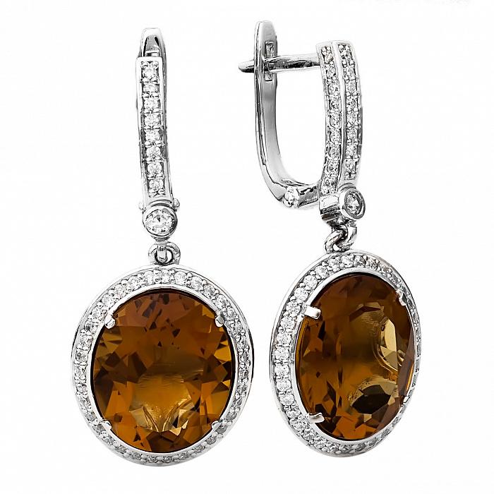 Серебряные серьги с кварцем и фианитами Дарья 000030179