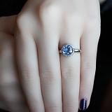 Серебряное кольцо Небеса с голубым кварцем