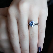 Серебряное кольцо Небеса с кварцем цвета танзанит и фианитами