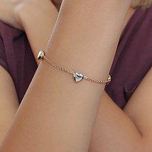 Золотой браслет комбинированного цвета Сердечки