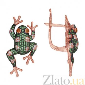 Серьги из красного золота с белым и зеленым цирконием Царевна VLT--ТТ2208-2