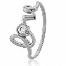 Золотое кольцо с кристаллом Swarovski Love