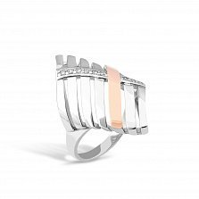 Серебряное кольцо Фиделия с золотой накладкой, фианитами и родием