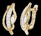 Позолоченные серебряные серьги с цирконием Акация SLX--С3Ф/070