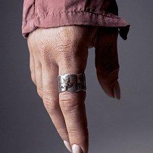 Кольцо из серебра Leaf fall с золотой вставкой и чернением
